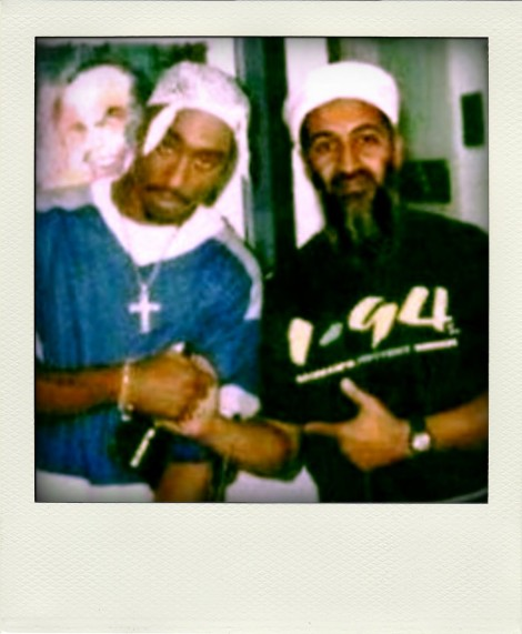 Image floating around the internet of Tupac hanging out with Osama bin Laden. Rap culture has had a huge impact on western jihadists in Syria.